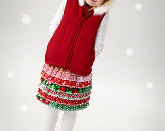 Little Girl's Christmas Skirt Holiday Skirt Christmas Ruffle Skirt Holiday Ruffled Skirt, Sizes 6/9 month to Size 12