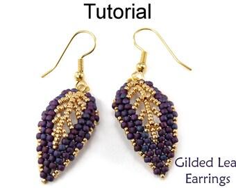 Beading Tutorial Pattern Beaded Earrings - Diagonal Peyote Stitch Russian Leaf - Simple Bead Patterns - Gilded Leaf Earrings #9523