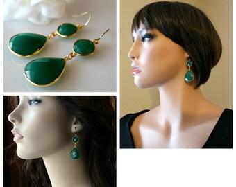 Green Onyx Double Drop Earrings, Green Onyx Dual Dangle, Emerald Green, Gold Vermeil, Green Bezel Gemstoness