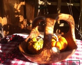 Wooden rustic fruit bowl, natural shape,  with handle, Thanksgiving bowl basket, length 9""