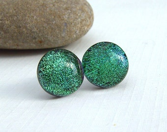Green Dichroic Glass Stud Earrings - Dichroic Jewelry - Fused Glass Jewelry - Glass Earrings on 925 Sterling Silver Posts