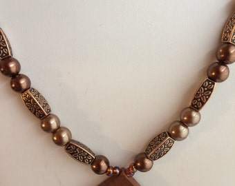 Brown and Copper Necklace.