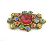 Vintage Czech Glass Rhinestone Filigree Brooch in Jewel Tones