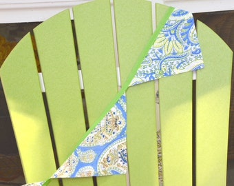 Blue and Green Shabby Chic Fabric Bunting/Banner/Pennant/Decor