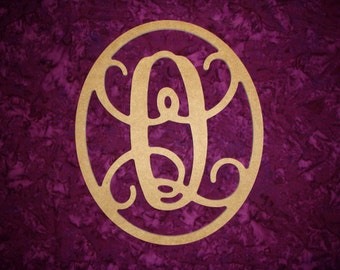 """Monogram Letter Q Wood Cut Out Unfinished Wooden MDF Paintable Letters 12"""" Tall"""