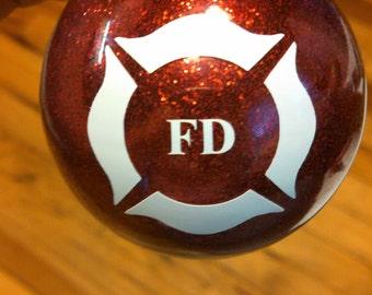 Glass Fire Department Ornament