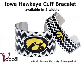 Iowa Hawkeye Cuff Bracelet - Black and White Chevron   - Tigerhawk