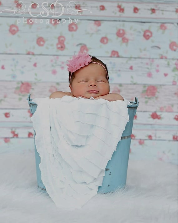 Newborn Photo Prop: White Ruffled Layering Piece for Newborn Photo Shoot, 12 Colors, Infant Wrap, Newborn Photo Wrap, Infant Photo Prop