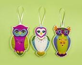 Set of 3 Owl Felt Ornament PDF Patterns