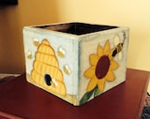 Primitive Handmade Bee Keeping Box Wood Hand Painted