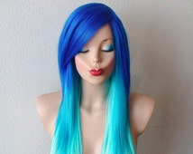 teal colored wig 106 - Colored Wig