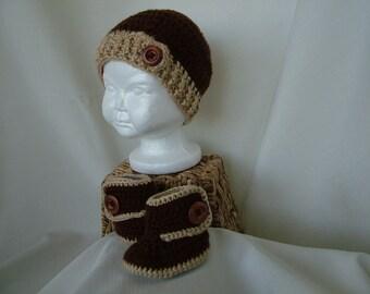 Baby boy crochet hat and ugg boot set