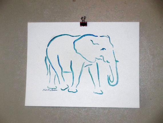 Original Watercolor Elephant