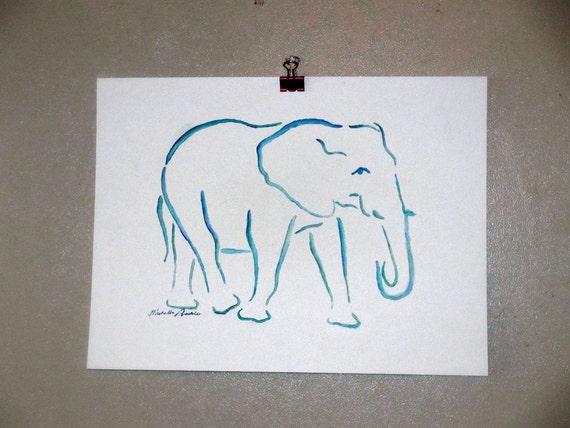 Original Watercolor Elephant