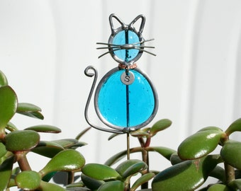 Stained Glass Ocean Blue Cat Plant Stake with Personalized Collar, Cat Garden Art
