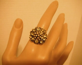 Flower rhinestones and  silver tone ring, adjustable, vintage