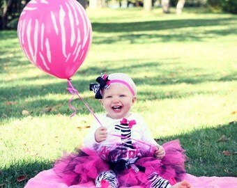 Hot Pink and Zebra Birthday Outfit --Customizable-- FREE SHIPPING