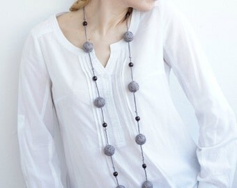 Gray textile necklace for women lace textile wooden beads natural