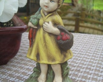"Ceramic Barefoot Doll Has Harvested Tomatoes and Carrots 6"" tall Peasant Girl"