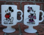 Mickey and Minnie Mouse Milk Glass Footed Pedestal Mugs