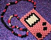 Gameboy Kandi Necklace - Pink - Raver - Black Light Reactive - EDM