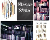 PLEASE WRITE ink pen and antique book POSTCARDS - set of 5