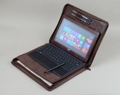 Coffee Microsoft Surface Zipper Briefcase with Surface Pro Business Standing and Surface Keyboard Carrying with Letter Size Notepad Holder