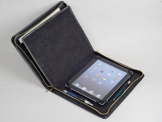 Ipad 4 Portfolio Case With Notepad Full Grain Black By