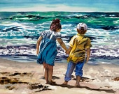 Watercolor Painting of Children Holding Hands on the Beach, Paintings of children, Beach watercolors, Boy and girl, Brother and sister