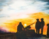 Military Painting Watercolor of Soldiers at Sunset, Military Art, Soldiers, Armed Forces, Wars in Iraq and Afghanistan, in Memorium