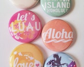Set of 6 Hawaii Scrapbooking Flat Back Craft Badges