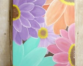Colorful Art - 14 x 11 Spring Art with Colorful Flowers - Acrylic Painting Canvas Art - Fine Art Painting
