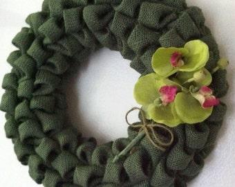 SALE! Burlap Wreath, Bubble Burlap Wreath, Fall, Orchid Flower Wreath, Green Burlap And Flowers