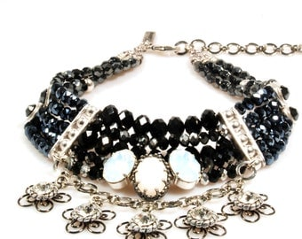 Statement necklace black with Swarovski in black and white - bib choker necklace - multi strands beaded - party statement jewelry
