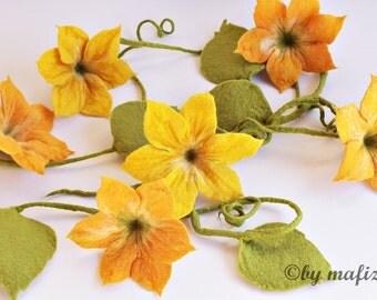 Felted Garland large flowers pumpkin autumn felt garland window deco deco apartment garden party