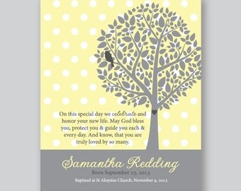 Baptism Gift Girls, Gift for God Child, Personalized Bible Verse Art Print, Christening Gift // Soft Yellow and Grey //8x10 Art Print