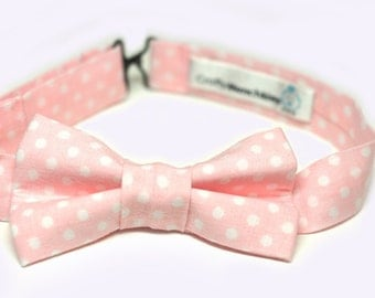 Bow Tie - Light Pink With Polka Dots Bowtie
