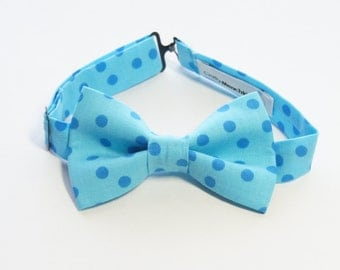 Bow Tie - Light Blue with Polka Dots Bowtie