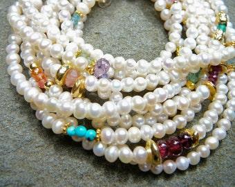 Pearl and Gemstone Bracelet, Pearl Bracelet, Freshwater Pearl Bracelet, Pearl Jewelry, Multistrand Bracelet, Gemstone Bracelet, Pearls