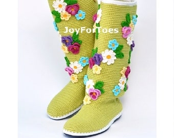 Crochet Boots for the Street Floral Boho Chic Boots Outdoor Crocheted Women Fashion Shoes Gifts for her Green Spring trend wife gift