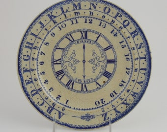 SALE - Staffordshire Child's Plate with Alphabet, Numbers, Clock