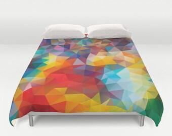 Duvet, Duvet Cover, King Size, Bed cover, King Duvet, Queen Duvet, Art Duvet, Art, Triangle, Avenue, Rainbow, Polygon, Geometric, Pattern