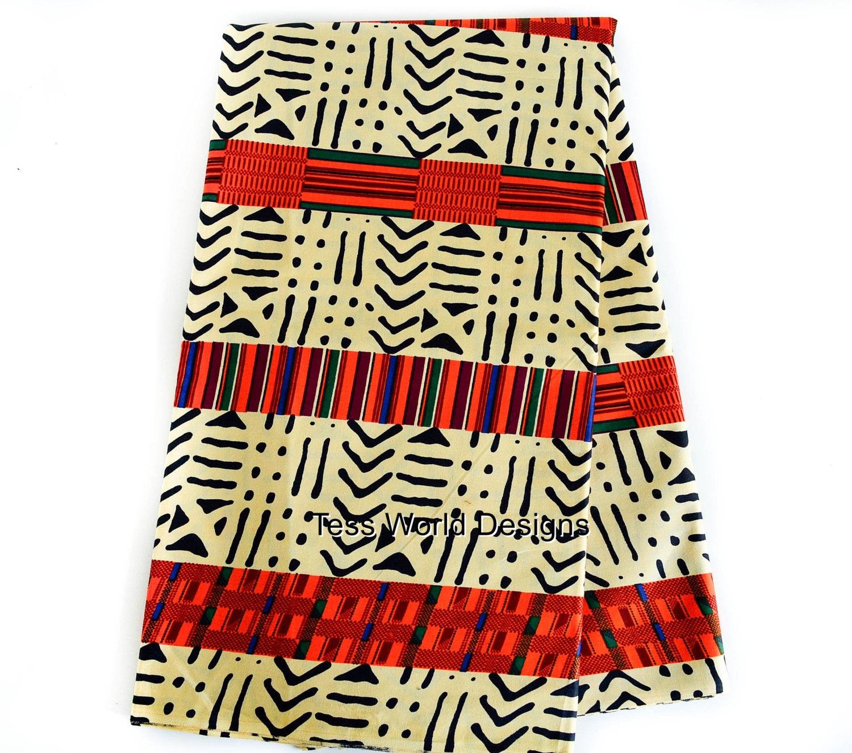 African Fabric Wholesale Beige Mud Cloth Kente Print Ensemble