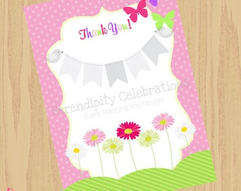 INSTANT DOWNLOAD- DIY Thank You Card- Daisies & Butterflies -Flat Thank You Note Card by Serendipity Celebrations
