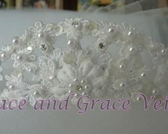 White Flower Tiara - Choice of Handmade Bow - First Communion