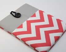 Womens laptop Case 12 inch Macbook Case 13 inch Laptop Sleeve padded handmade Chromebook Cover- Coral Chevron Print