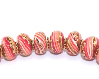 Round pressed stripes beads, rondelle beads for Craft supplies,  Polymer Clay beads in red, orange and gold, Set of 8 unique beads
