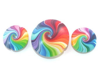 Colorful swirl lentil beads, Polymer Clay beads in rainbow colors,  focal beads,  set of 3 Elegant beads, Jewelry supplies