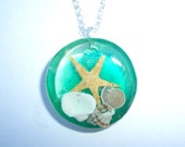 Starfish Ocean Seascape Resin Pendant Necklace