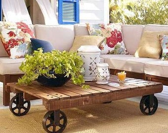 Fall SPECIAL.  The Florencia. Custom (made to order) Coffee Table of reclaimed wood.with vintage casters.